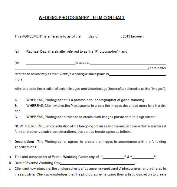 Photography Contract Template - 10+ Free Word, PDF ...