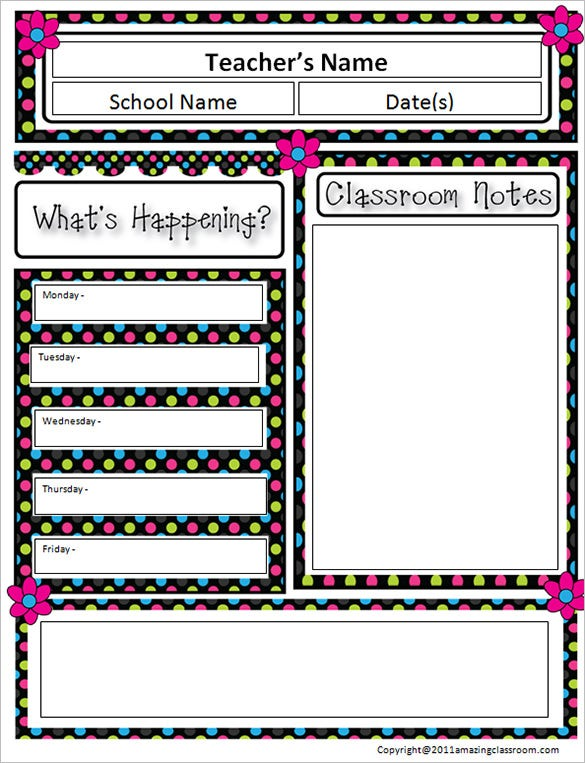 10 awesome classroom newsletter templates designs for Free editable newsletter templates for teachers