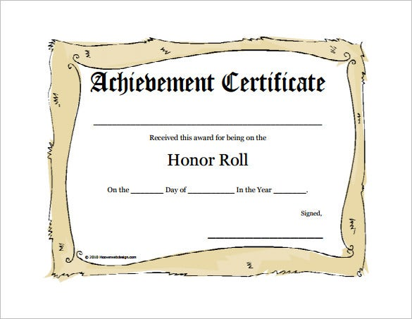 9 Printable Honor Roll Certificate Templates Free Word PDF – Editable Certificate Templates