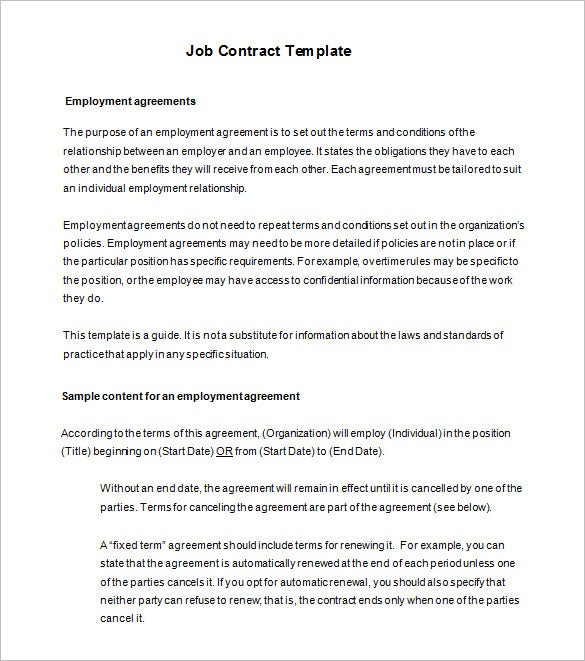 terms of employment contract template - 17 job contract templates free word pdf documents