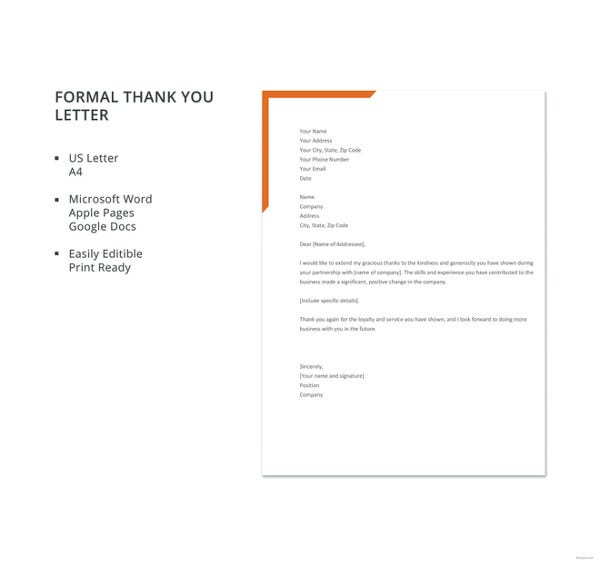 23 thank you letter to boss templates free sample example format free formal thank you letter template spiritdancerdesigns Image collections
