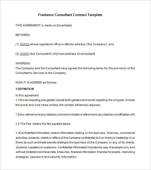 Free Freelance Consultant Contract Template Download  Free Business Contract Templates