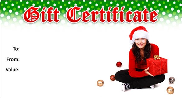 Christmas Gift Certificate Template   Word Pdf Documents