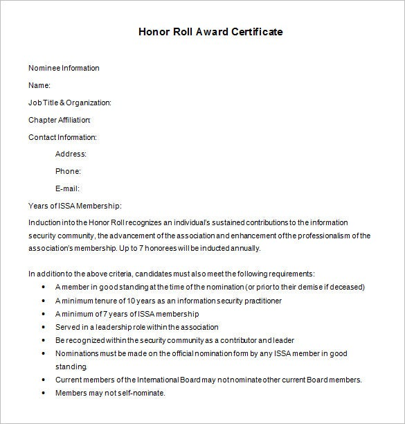 9 Printable Honor Roll Certificate Templates Free Word PDF – Free Award Certificate Templates for Word