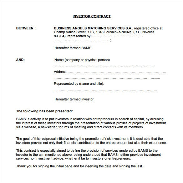 free investor contract template in pdf format