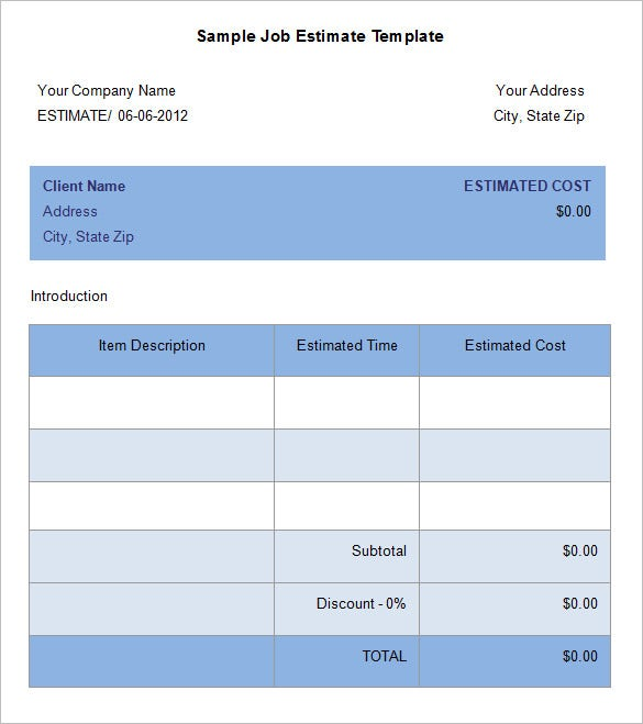 16 sample estimate templates doc pdf excel free premium