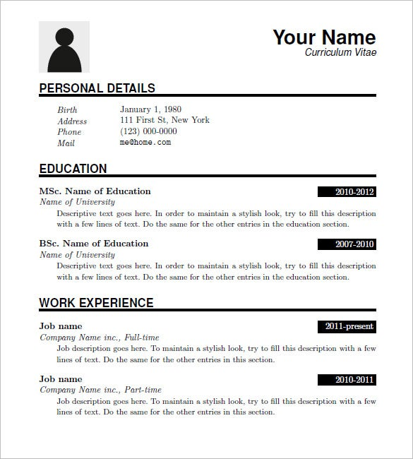 free latex resume templates download