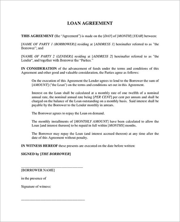 Doc413585 Sample Contract of Loan 5 Loan Agreement Templates – Contract of Loan Sample