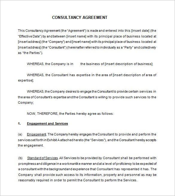 8 Consultant Contract Templates Free Word PDF Documents – Business Consulting Agreement Template