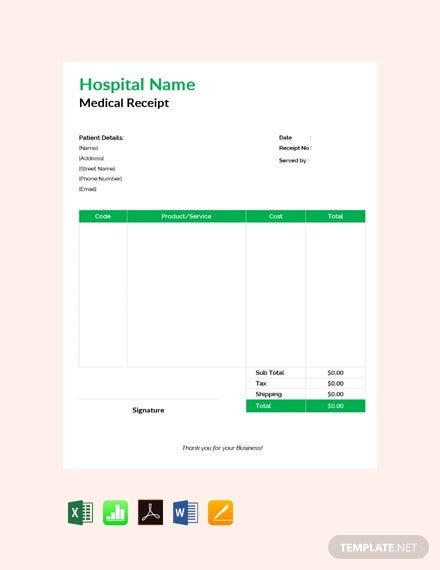 free medical receipt template