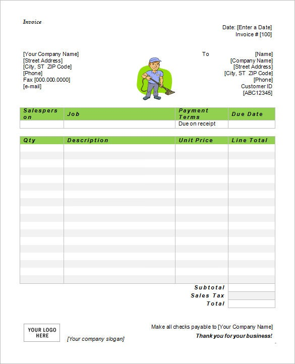 Microsoft Invoice Template Free Word Excel PDF Free - Carpet cleaning invoice free for service business