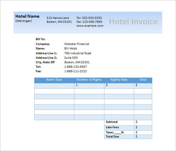 free microsoft hotel invoice template download