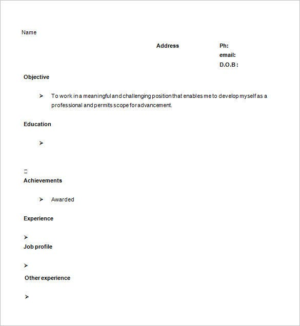 41 One Page Resume Templates Free Samples Examples Formats – Concise Resume Template