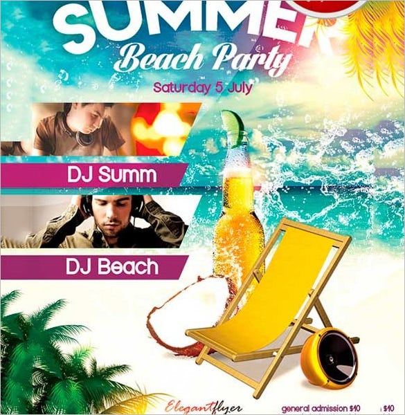 free psd beach party flyer template - Free Psd Flyer Templates