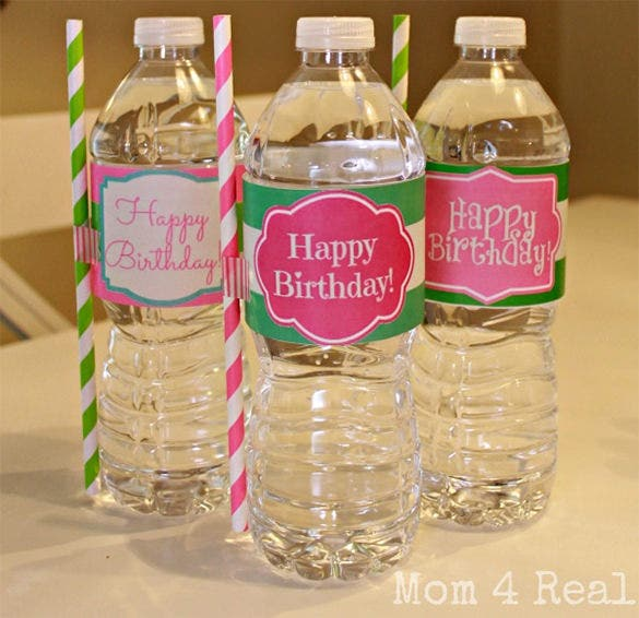 free printable happy birthday water bottle template
