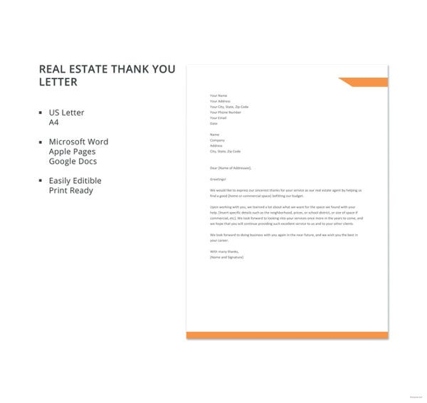Free Real Estate Thank You Letter Template