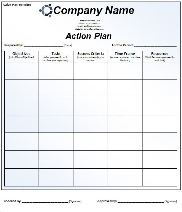 Free SMART Action Plan Template Word Download  Project Action Plan Template Excel