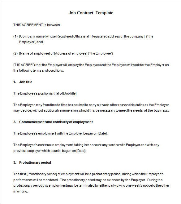 free sales job contract template download