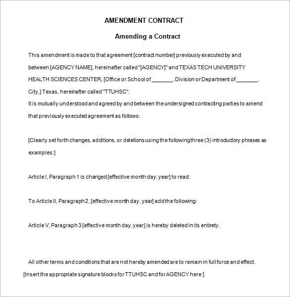 free sample contract amendment template download