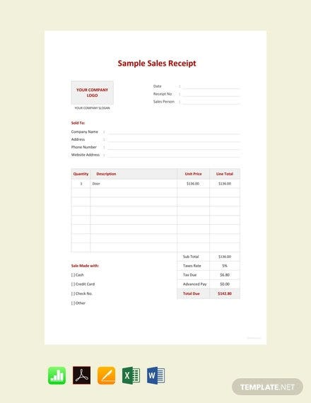 free sample sales receipt template3