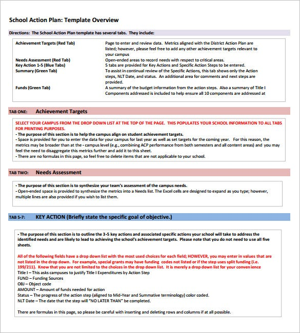 School Action Plan Template   Free Word Excel Pdf Format