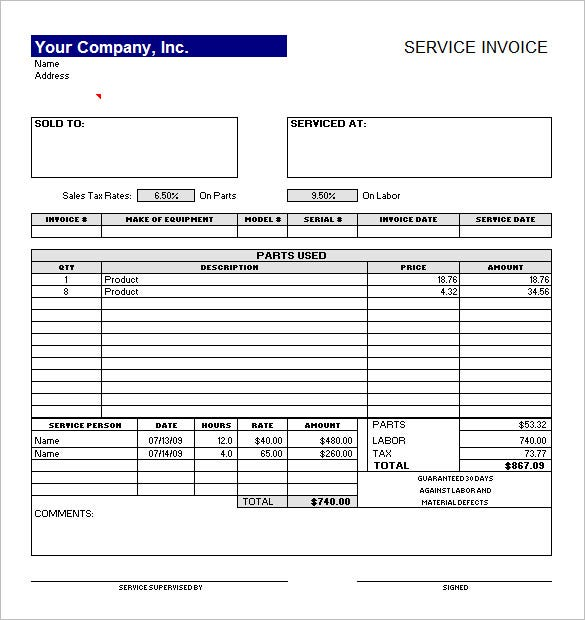 free service invoice template sample
