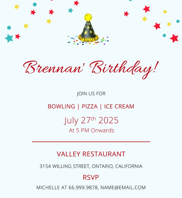 free simple bowling birthday invitation template