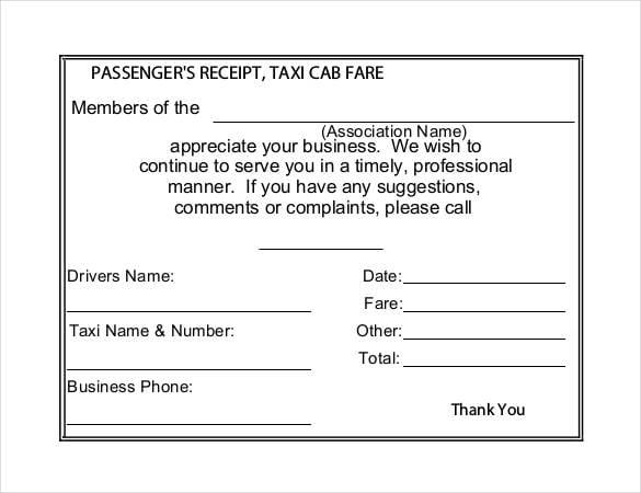free taxi receipt