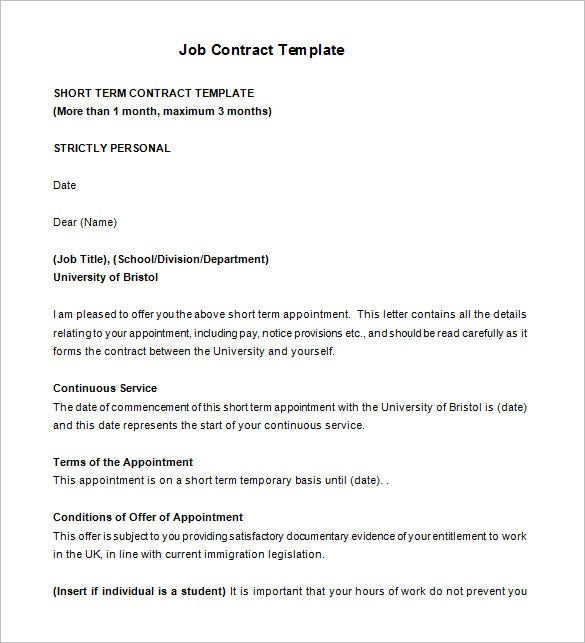 17 job contract templates free word pdf documents for Temporary employment contract template free