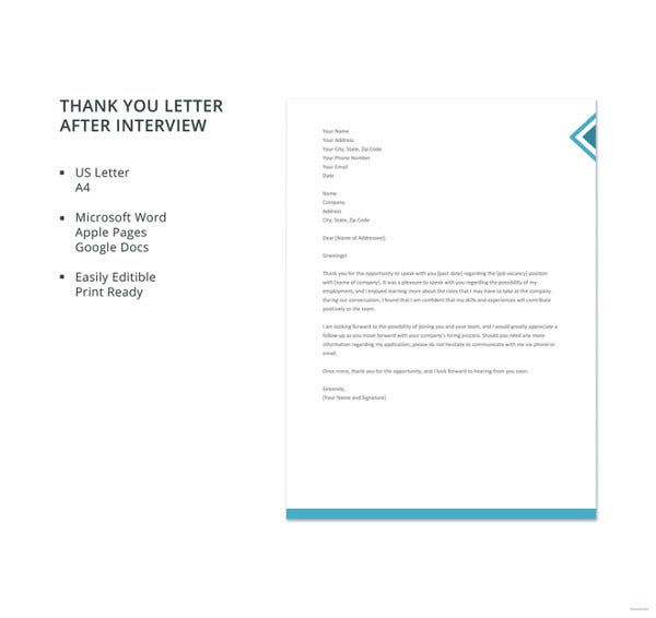 Thank you letter after interview 12 free sample example format free thank you letter after interview template altavistaventures Image collections