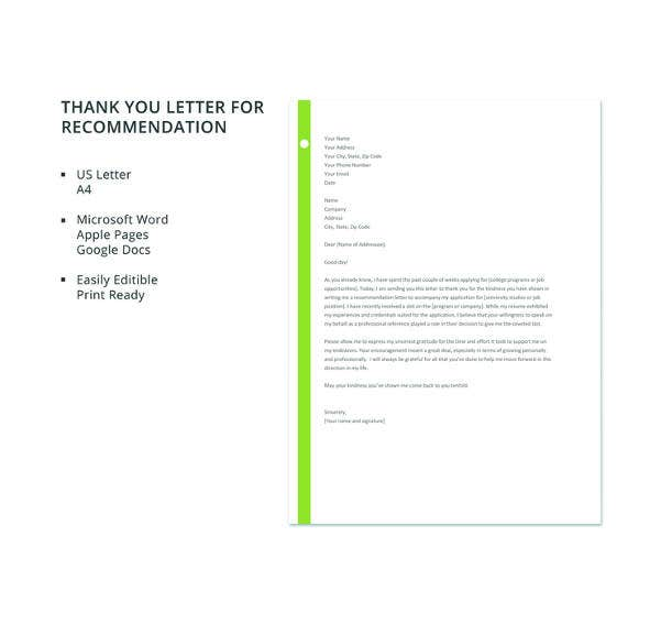 8 thank you letter for recommendation pdf doc free premium free thank you letter for recommendation template expocarfo Gallery