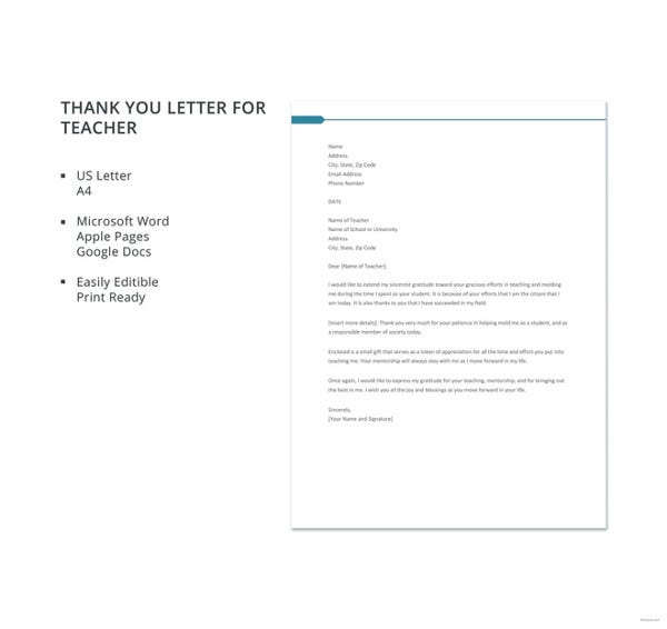 free thank you letter for teacher template1
