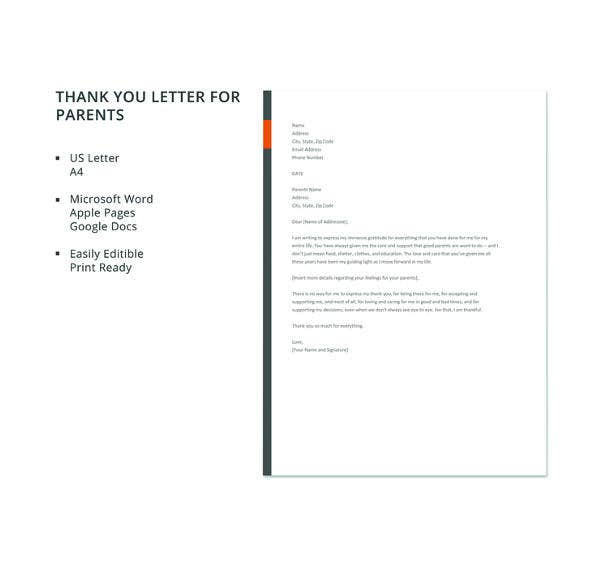 free thank you letter to parents template