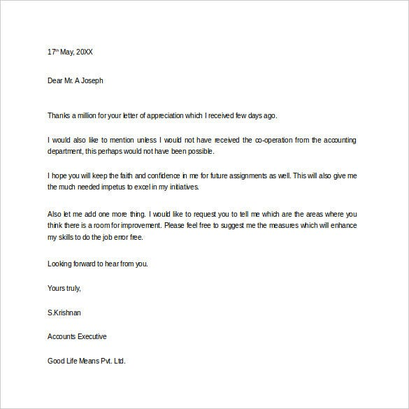 Thank You Letter For Appreciation – 9+ Free Word, Excel, Pdf
