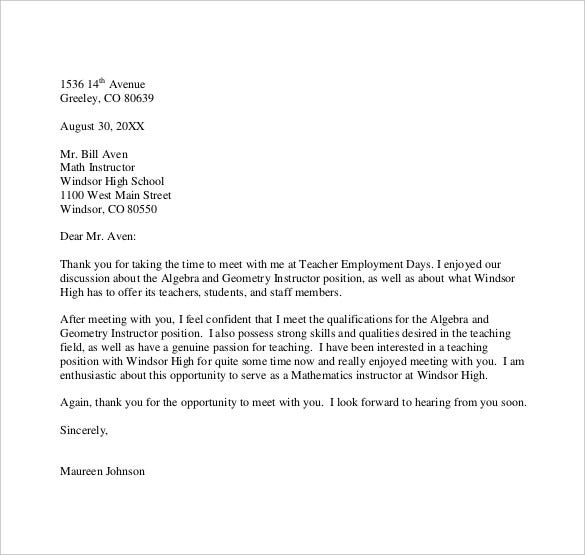 Thank You Letter To Teacher   Free Word Excel Pdf Format