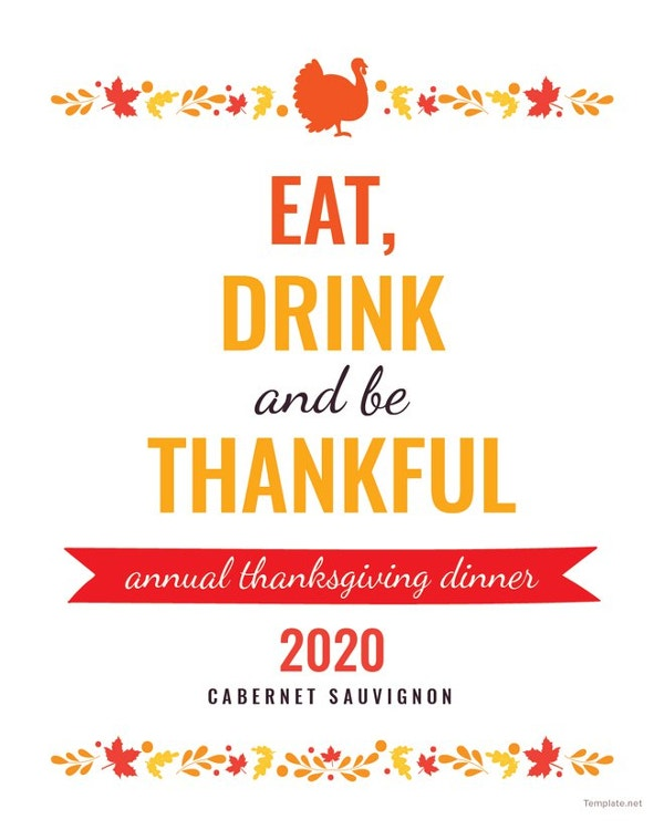 free thanksgiving wine bottle label template to edit