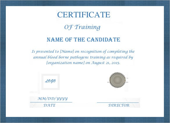 Printable certificate template 46 adobe illustrator for Training certificate template free