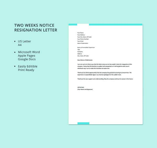 free two weeks notice resignation letter template