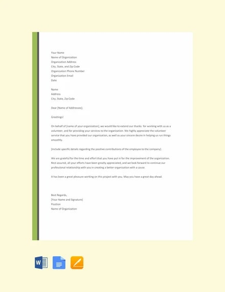 free volunteer thank you letter template1
