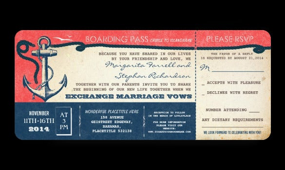 free wedding boarding pass vintage