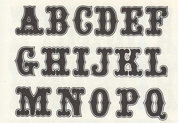 free wood type prinatble alphabets