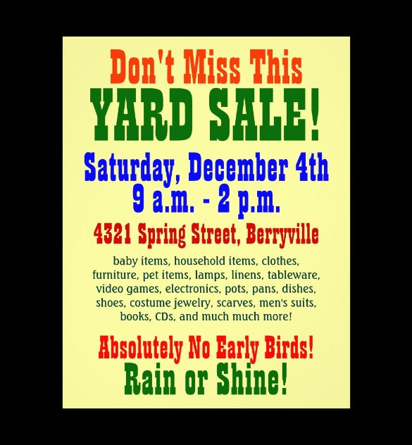 14 Best Yard Sale Flyer Templates PSD Designs – For Sale Template Free