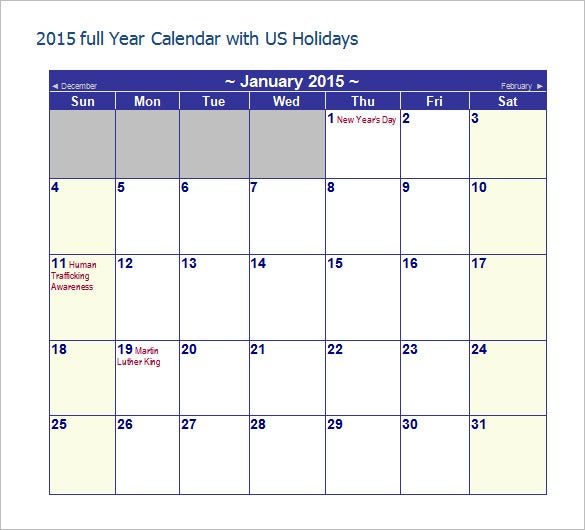 free year calendar with us holidays