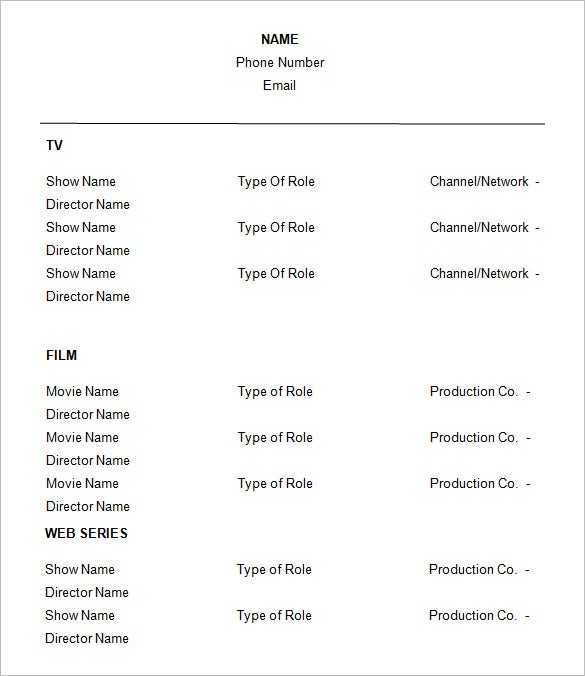 Resume Format For Actors. No Experience Acting Resume Template