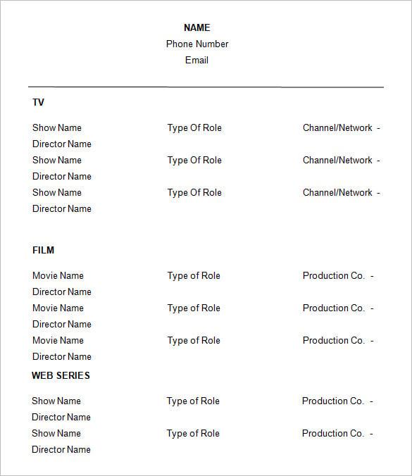 drama resume template