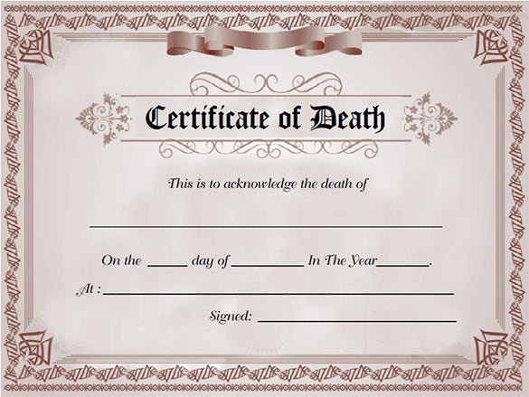 Sample Death Certificate Template 11 Free Word PDF Documents – Blank Certificate Format