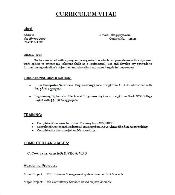 simple curriculum vitae sample format