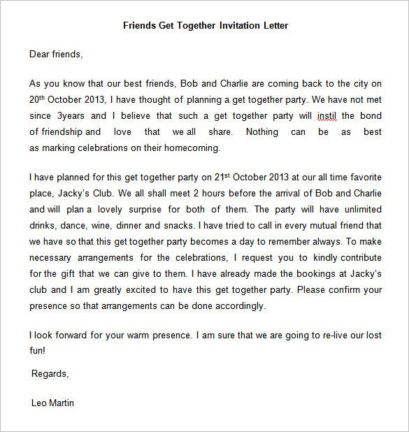 friends get together invitation letter doc