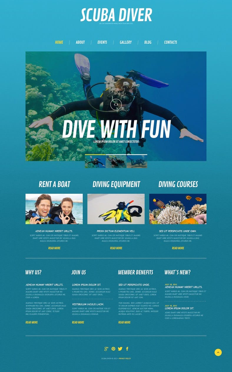 Fully Editable Diving Responsive WordPress Theme