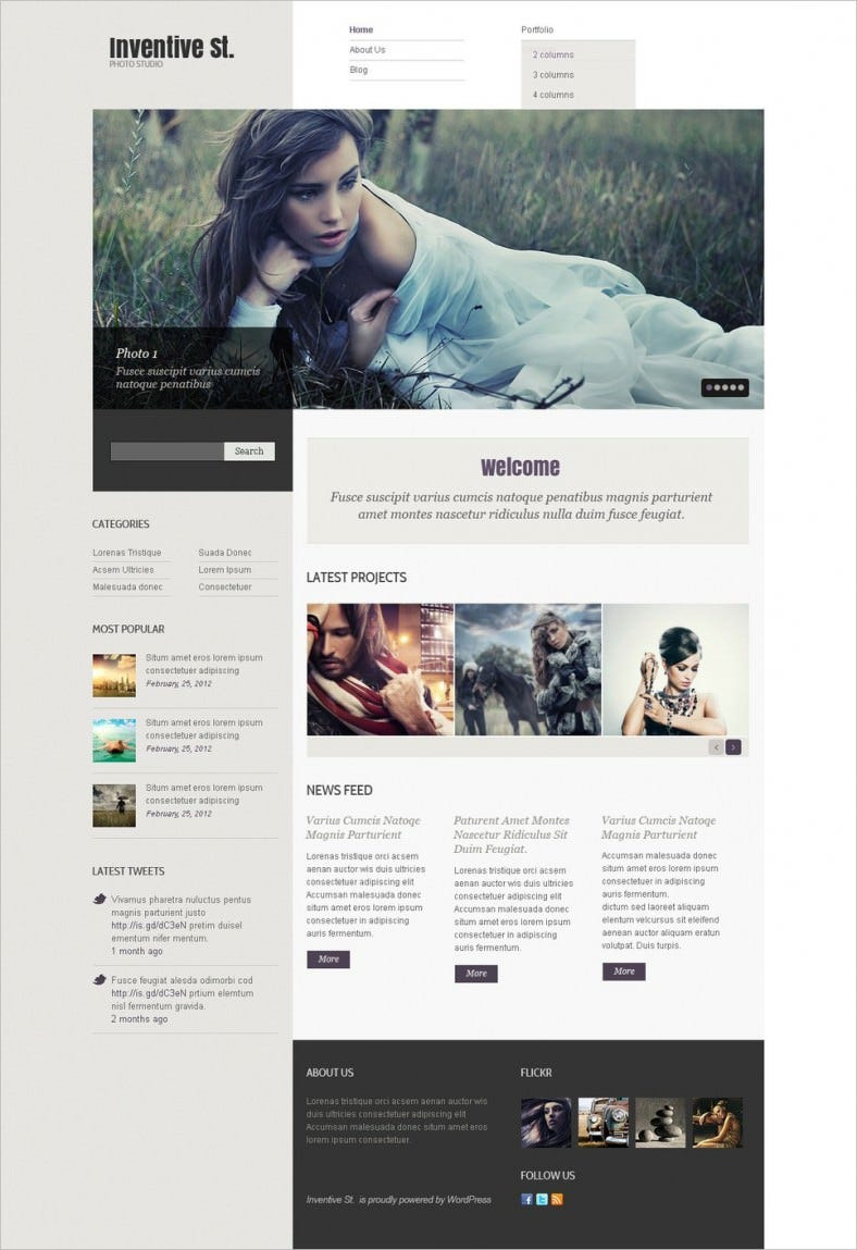 Fully Responsive Photo Studio WordPress Template